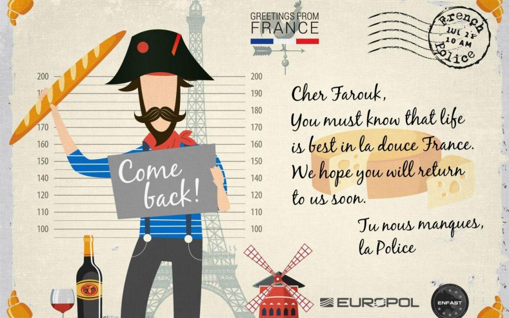 欧盟警察为抓逃犯推出卡通明信片
